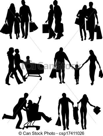 Vector Illustration of Family Silhouettes Shopping. Vector