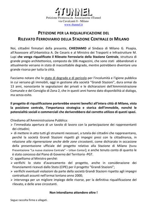 ministero dell interno divisione cittadinanza petizione per la riqualificazione rilevato ferroviario