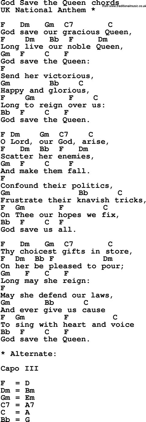 full version god save queen lyrics song lyrics with guitar chords for god save the queen