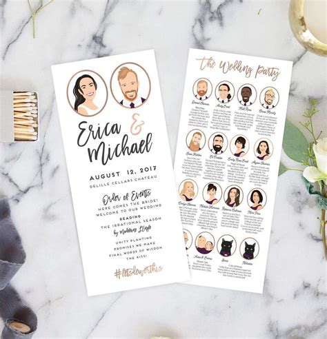 wedding ceremony programs  portraits