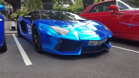 bmw supercar blue london supercars chrome blue lamborghini aventador sv