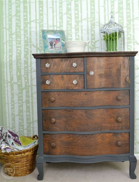 grey stained wood dresser refinished antique oak dresser for my daughters refresh