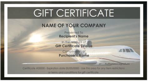 travel certificate template 7 free sle travel gift certificate templates