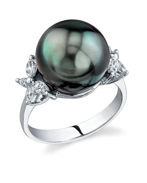 buy tahitian south sea pearl floral ring for