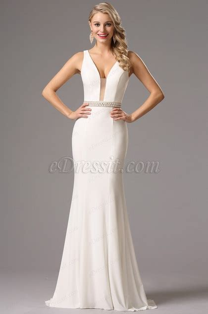 sexy plunging neckline white prom dress formal gown