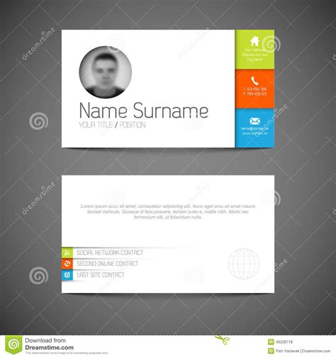 profile card template modern business card template with flat user interface