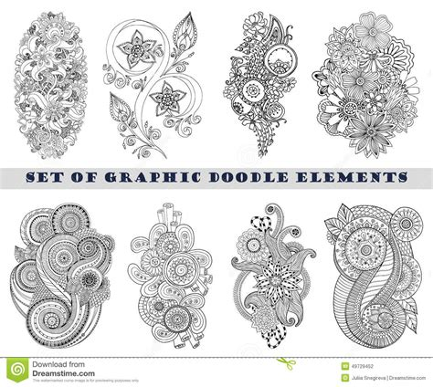 set of henna paisley mehndi doodle element stock vector