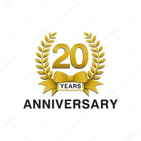 20th anniversary golden wreath logo stock vector
