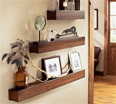 rustic wood ledge pottery barn display and wall