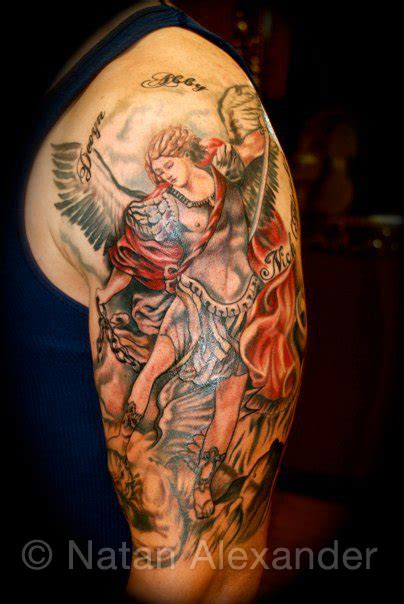 archangel michael tattoo black grey archangel michael