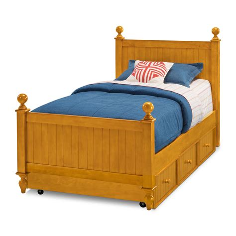 colorworks twin bed with trundle honey pine value city furniture