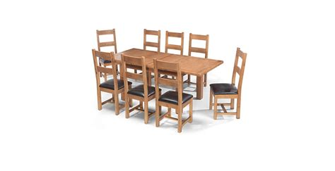 Extending Dining Table And 8 Chairs Rustic Oak 132 198 Cm Extending Dining Table And 8 Chairs