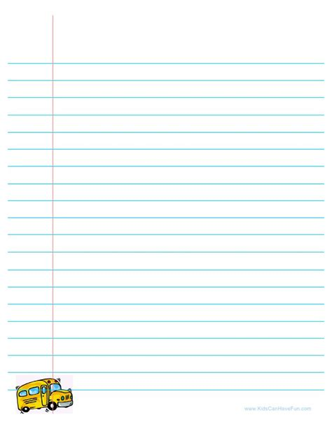 printable lined school paper back to school lined paper with school bus back to
