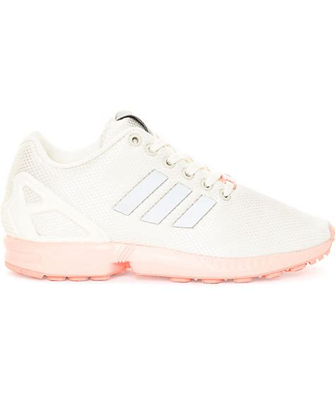 adidas zx flux white pink shoes zumiez