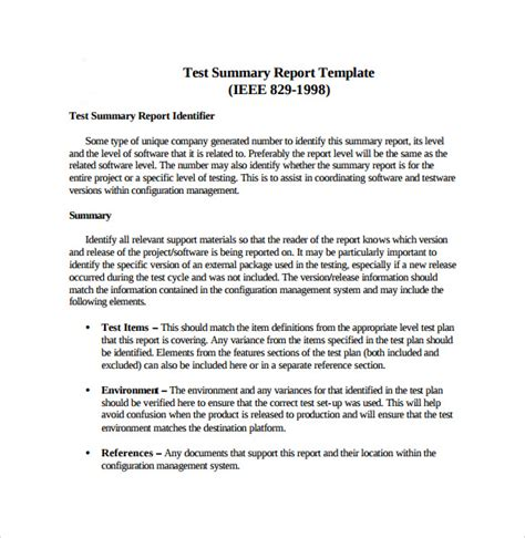 test report template summary report template 8 free sles exles format
