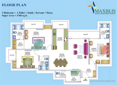 Maxblis White House Sector 75 Noida Apartment Flat House Plans With Rooms And Passageways