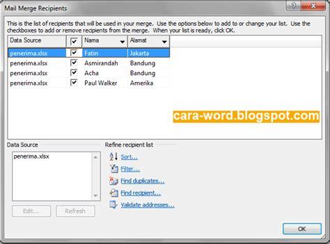 cara membuat mail merge di word 2013 cara membuat mail merge word gambar lengkap cara word
