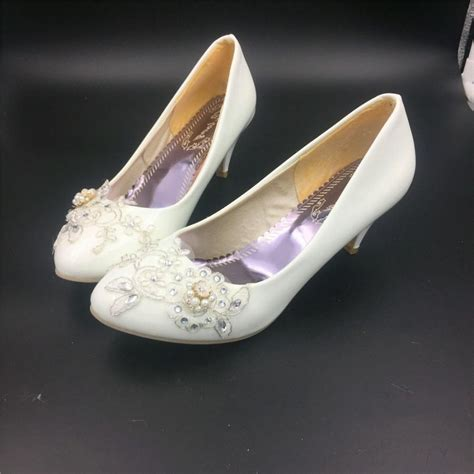 Wedding Shoes Ivory Dress by Ivory White Bridal Low Heels Wedding Shoes Flower Lace