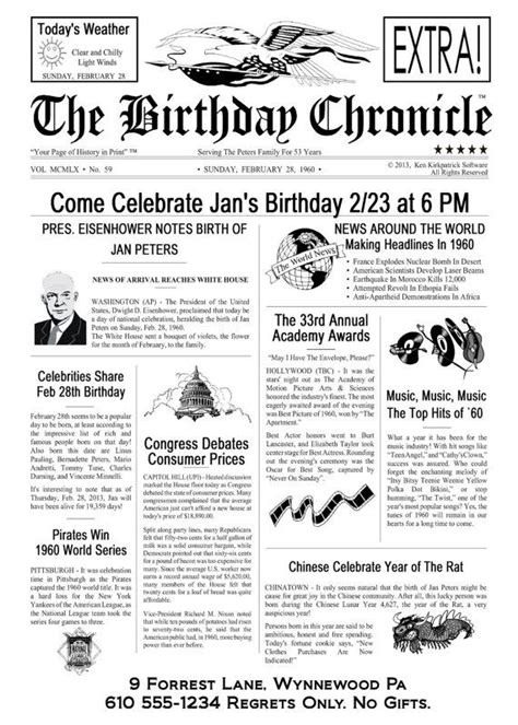 newspaper birthday card template personalized 50th birthday decoration 50th birthday gift