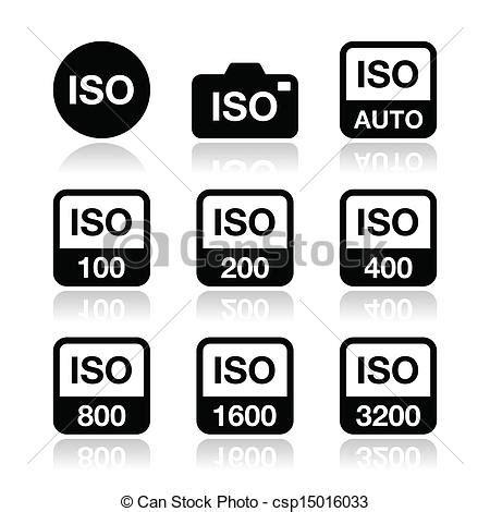 vectors of iso camera film speed icons camera iso