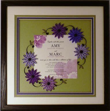 hand crafted wedding invitation quilled keepsake framed