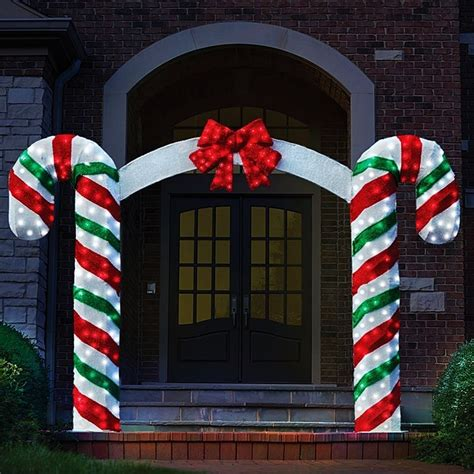 peppermint candy cane pre lit archway red bow christmas