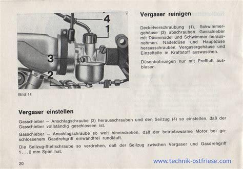 Sachs Motor Vergaser Einstellen by Hercules G3 Betriebsanleitung Vergaser Reinigen Und