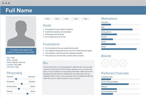 persona templates user persona creator by xtensio it s free
