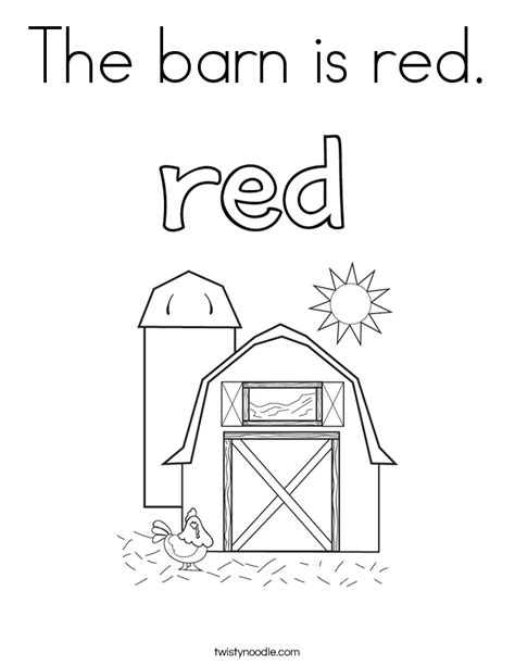 coloring page for red the barn is red coloring page twisty noodle