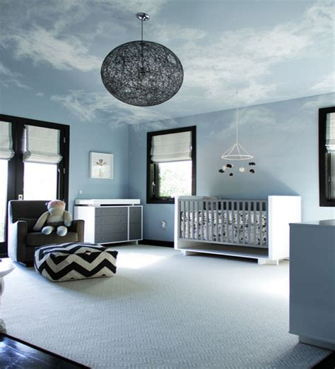 Nursery Ceiling Decor Painted Ceiling Murals That Mimic The Clouds