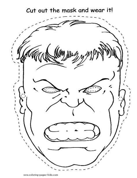 Hulk Mask Coloring Pages | hulk face mask coloring pages