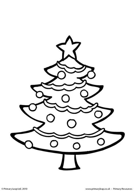 colouring picture christmas tree primaryleap co uk