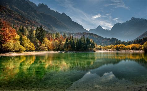 Dusk Autumn Forest Lake Water Wallpaper Trees Landscape Forest Fall Mountains