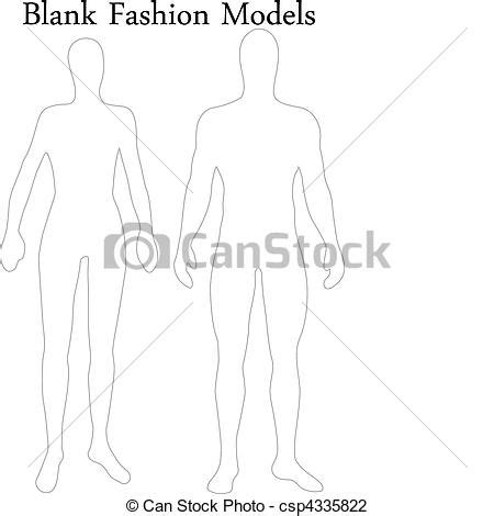 blank model sketch template set of blank and fashion models stock vector