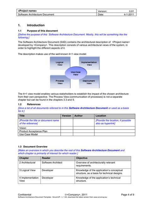 software architecture document software architecture document in word and pdf formats