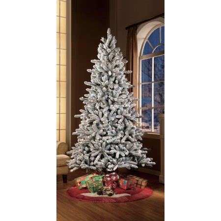walmart in store artificial christmas trees time pre lit 7 5 green flocked birmingham fir artificial tree clear lights
