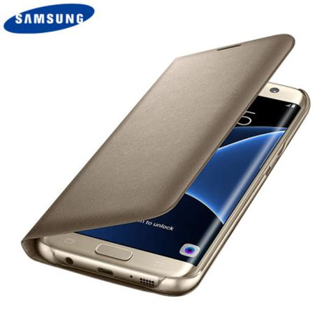 Flip Cover Samsung Galaxy S7 Edge official samsung galaxy s7 edge flip wallet cover gold