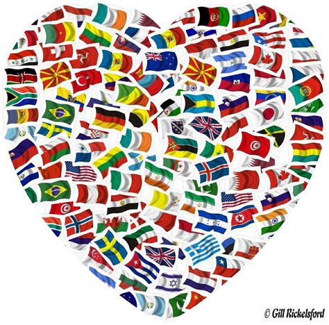 flags of the world display the flags of the world in the shape of a heart show unity