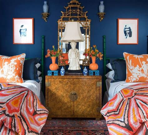 parker kennedy house beautiful bedroom blue  orange