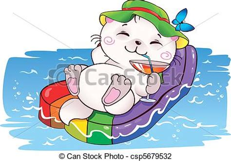 vector illustration of kitten on vacation funny card on vacation in vector this csp5679532