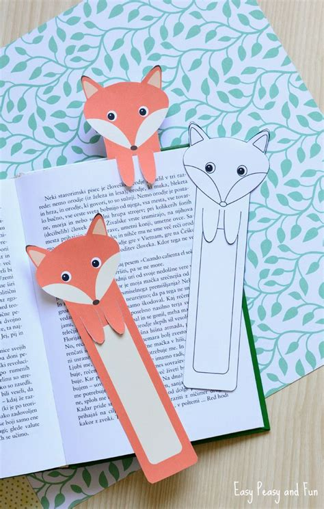 Creative Craft Ideas With Paper - printable fox bookmarks diy bookmarks easy peasy
