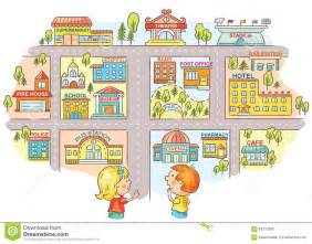 Children asking and telling the way to different city buildings stock