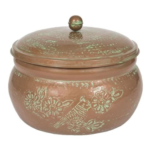 attractive multi use copper finish decor garden hose storage holder pot with lid ebay