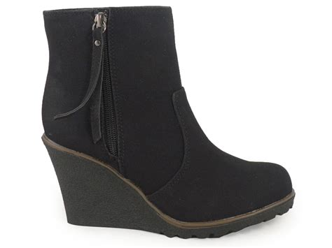 womens black office ankle wedge shoes boots 3 8 ebay