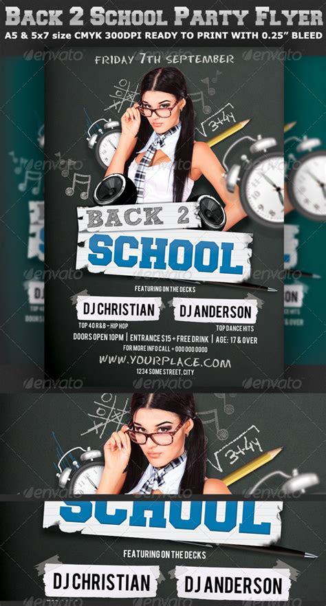 Back To School Party Flyer Template V2 By Hotpin Graphicriver College Flyer Template