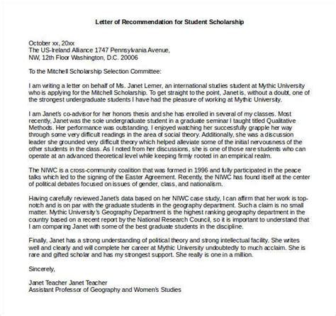 Letter Of Recommendation Phd Scholarship Letters Of Recommendation For Scholarship 26 Free Sle Exle Format Free Premium