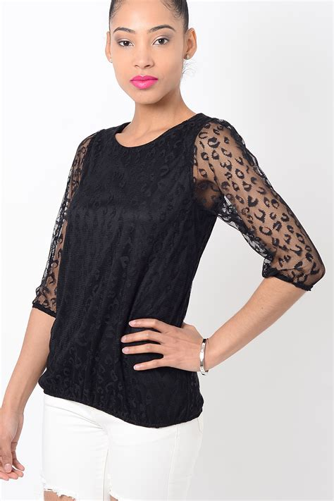 And Black Leopard Print Blouse by Stylish Black Leopard Print Mesh Top Stylish Tops Black