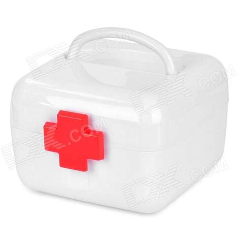 Portable Medicine Storage Box portable two layer medicine pill storage box white