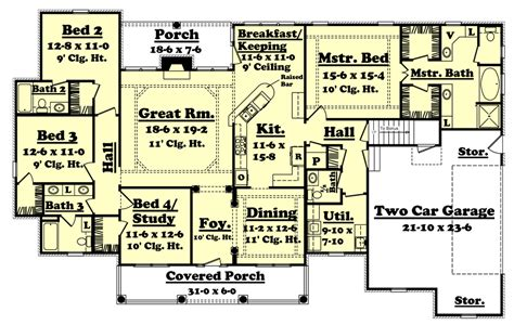 colonial style house plan 4 beds 3 5 baths 2500 sq ft