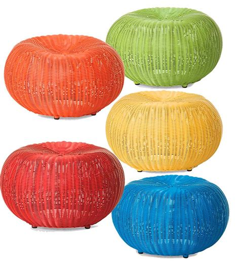 small ottomans and poufs small outdoor wicker ottoman pouf plowhearth